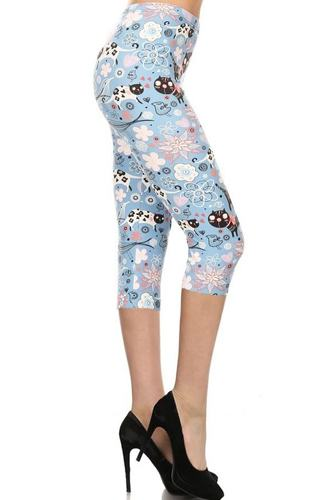 Cats And Flowers Printed, High Waisted Capri Leggings