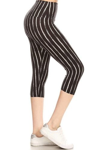 Yoga Style Banded Lined Stripe Printed Knit Capri Legging