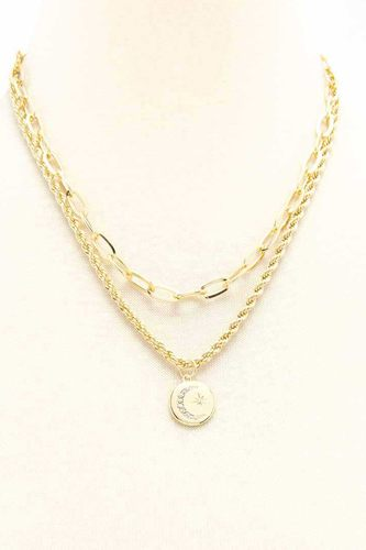 2 Layered Metal Chain Round Pendant Necklace