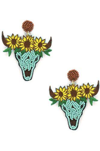 Seed Bead Carved Cow Skull Sunflower Dangle Earring