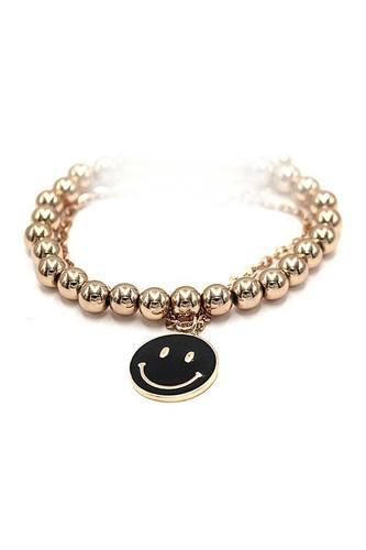 Fashion Smiley Face Metal Bead Bracelet