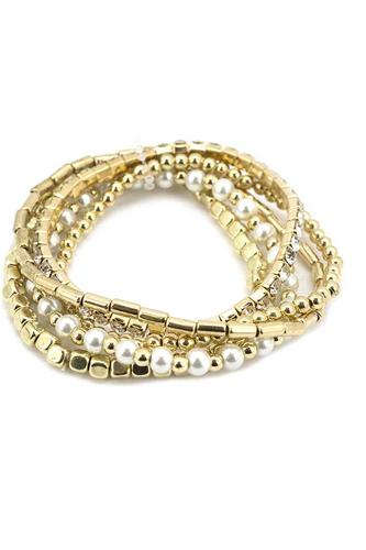 Fashion Metal Pearl Bead Stretch Multi Bracelet