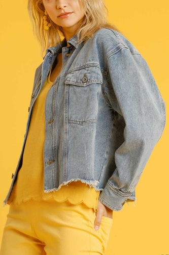 Collar Button Down Denim Jacket With Chest Pockets