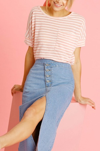 Asymmetrical Waist And Button Up Front Split Denim Skirt With Back Pockets And Unfinished Hem