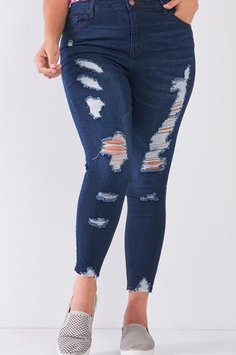 Plus Size Denim Mid-rise Raw Hem Detail Ripped Skinny Jean Pants