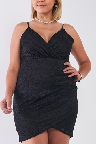 Plus Size Black Floral Lace Cami Bodycon Dress