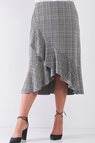 Plus Size Plaid Grey High-waist Midi Skirt