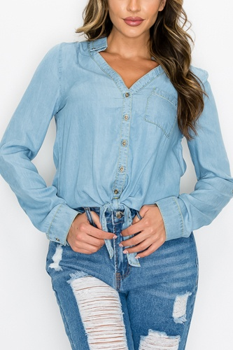 Long Sleeves Waist-tie Denim Top