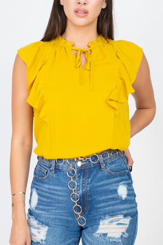 Ruffled Sleeves Mock Neck Top