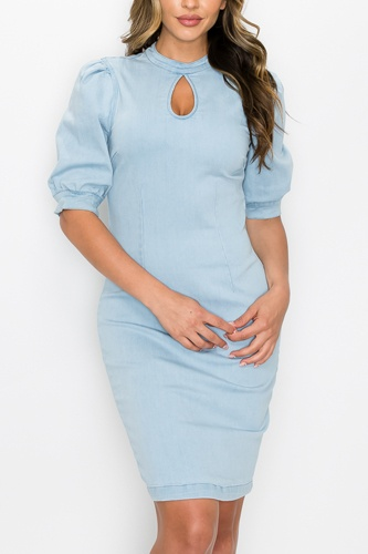 Front Keyhole Back Zip Denim Dress