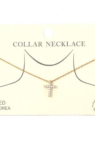 Dainty Rhinestone Cross Charm Collar Necklace