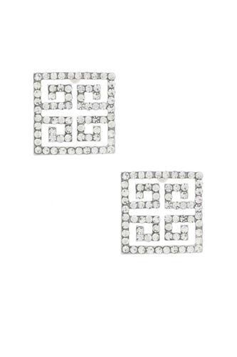Maze Square Rhinestone Earring