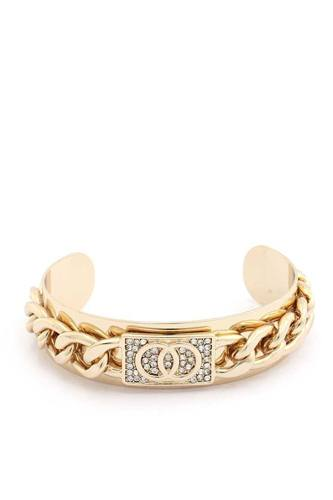 Double Circle Rhinestone Cuban Link Cuff Bracelet
