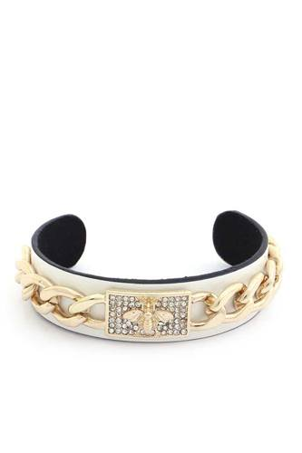Bee Rhinestone Cuban Link Cuff Bracelet