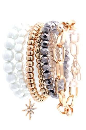 Pearl Metal Glass Stretch Bead Multi Bracelet 6 Pc Set