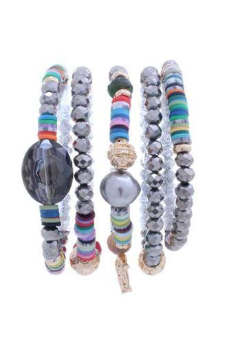 Glass Bead Multi Color Stretch Multi Bracelet