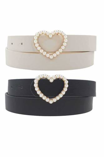 Single Row Pearl Heart Buckle Duo Belt