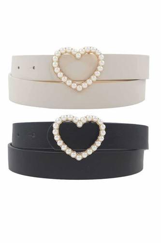 Single Row Pearl Heart Buckle Duo Belt