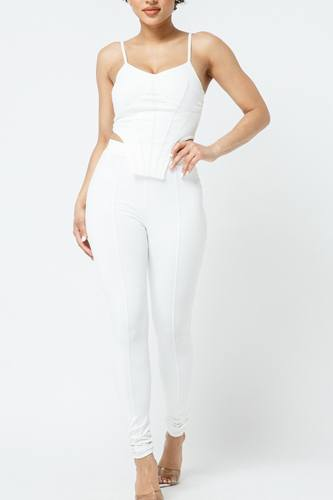 Strappy Bustier Stitch Details With Back Zipped High-waist Skinny Pants With Waist Elastic