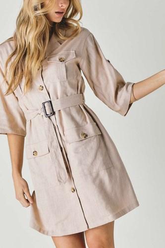 Drop Shoulder With Saist Tie Belted Dress