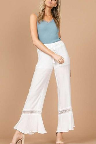 Laced Sheer Wide Leg Palazzo Pants