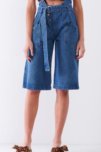 Mid Blue Denim Front Cut-out High-waist Buckle Self-tie Belt Detail Midi Flare Jean Pants