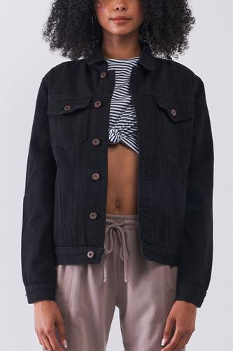 Black Oversized Long Sleeve Classic Denim Jacket