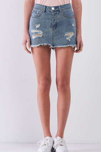 Medium Blue Washed Denim Ripped High Waist Raw Hem Detail Mini Skirt