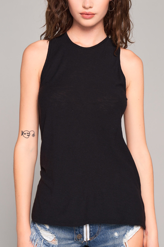 Sleeveless Crew Neck Cut-out Back Detail Longline Top