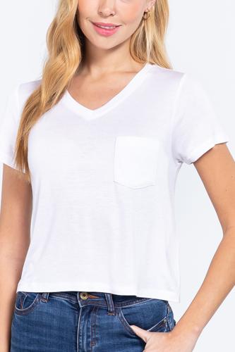 Short Slv V-neck W/pocket Crop Top