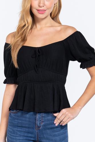 Short Off Shoulder Knit Gauze Top