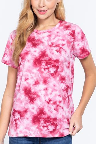 Short Slv Tie-dye Cotton Jersey Top