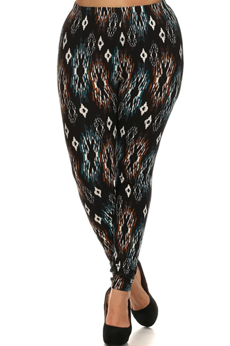 Tribal Print, Lined Leggings With Elastic Waist