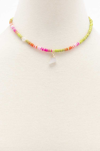 Dainty Stone Charm Rubber Disk Bead Necklace