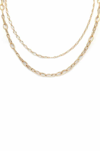 2 Layered Metal Chain Necklace