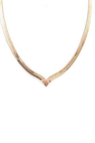 Herringbone Metal Chain V Necklace