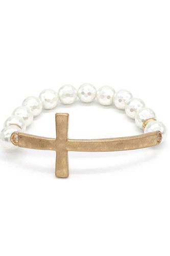 Metal Cross Pearl Bracelet