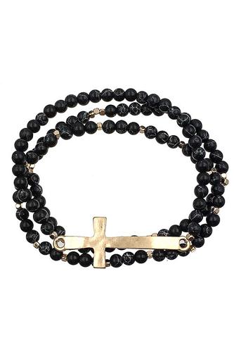 Multi Layer Bead Metal Cross Bracelet