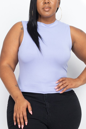 Plus Size Mock Neck Cropped Top
