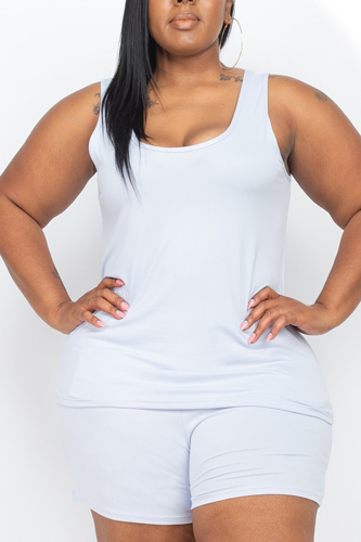 Plus Size Tank Top And Shorts Set