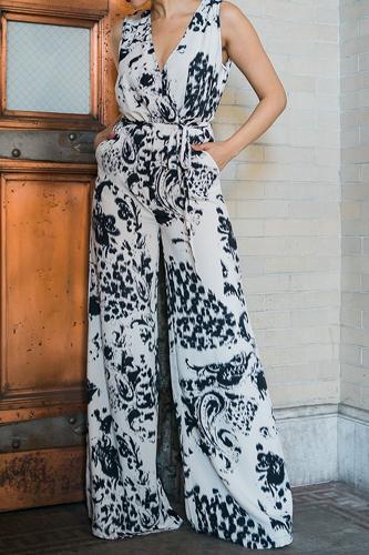 Tie Dye Print Fashion Woven Jumpsuit