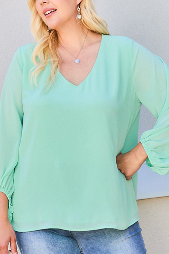 V Neck Bubble Sleeve Solid Top