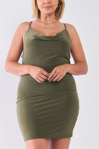 Plus Size Sleeveless Silky Cowl Neck Bodycon Cami Mini Dress