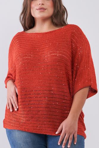 Plus Size Dark Coral Sequin Sheer Knit Bateau Neck Drop Shoulder Loose Fit Top