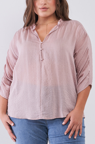 Plus Striped Frill Neck Gathered Sleeve Detail Button-down Relaxed Boho Top