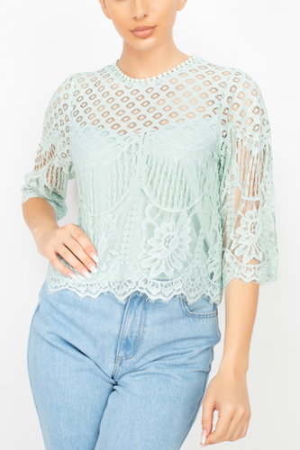 Mock 3/4 Sleeves Lace Designed Top