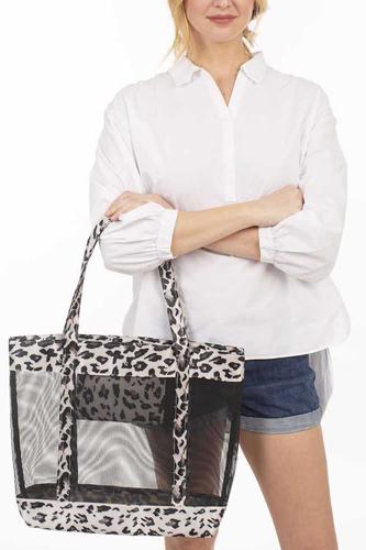 Fashion Leopard Print Mesh Tote Bag