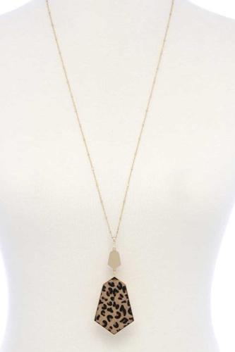 Faux Fur Animal Print Pendant Necklace