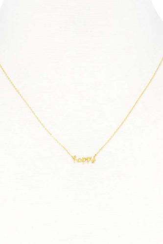 Happy Message Dainty Metal Necklace