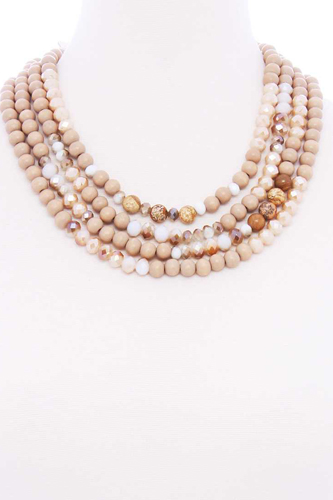 Chunky 4 Layered Bead Multi Necklace